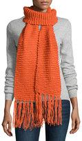 Hat Attack Textured Knit Long Scarf, Orange