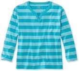 L.L. Bean L.L.Bean Saturday T-Shirt, Splitneck Three-Quarter-Sleeve Stripe