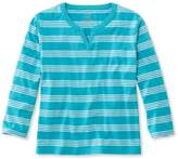 L.L. Bean Saturday T-Shirt, Splitneck Three-Quarter-Sleeve Stripe