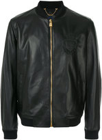 Billionaire emblem leather bomber jacket