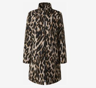 Spoom - Lily Black Brown and Cream Leopard Print Wool Mix Coat - 42 | black - Black/Black
