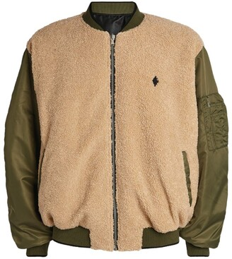 Marcelo Burlon County of Milan Cross Logo Sherpa Bomber Jacket