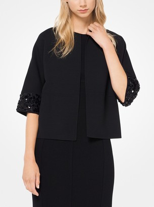Michael Kors Sequined Double-Face Wool Tricotine Jacket