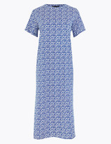 Marks and Spencer Pure Cotton Palm Print Midi T-Shirt Dress