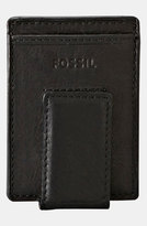 Fossil Men's 'Ingram' Leather Magnetic Money Clip Card Case - Black