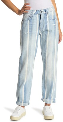 G Star 3301 Striped Mid Rise Boyfriend Jeans