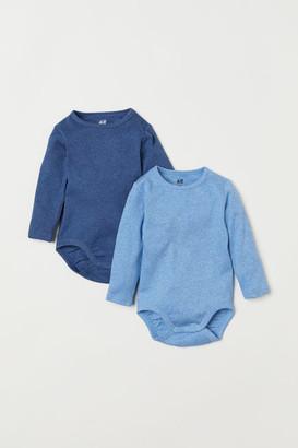H&M 2-pack Long-sleeved Bodysuits - Blue