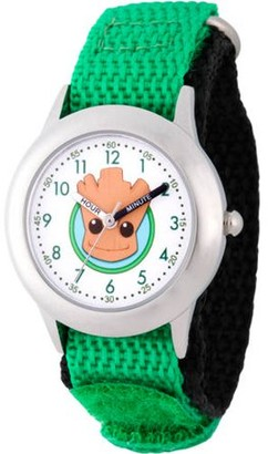 Marvel Guardians of the Galaxy Evergreen Groot Boys' Stainless Steel Time Teacher Watch, Green Hook and Loop Nylon Strap with Black Backing