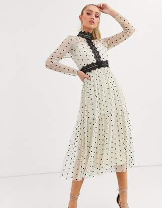 Lace & Beads long sleeve polka dot midi dress with lace inserts in cream/black