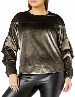 Rachel Roy Women's Plus Size Ruffle Sleeve Sweatshirt