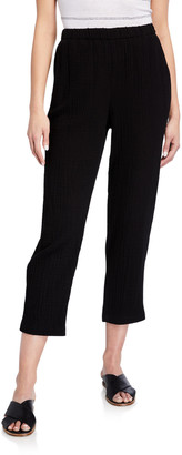 Eileen Fisher Tapered Organic Cotton Gauze Ankle Pants