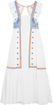 Temperley London Spellbound Embroidered Poplin And Swiss-dot Cotton Dress - White