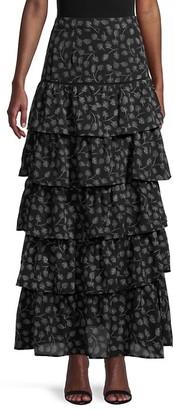 Allison New York Feather-Print Tiered Maxi Skirt