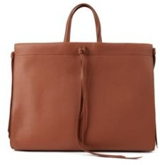 HUGO BOSS Grained Leather Tote Bag With Tassel Ties - Light Brown