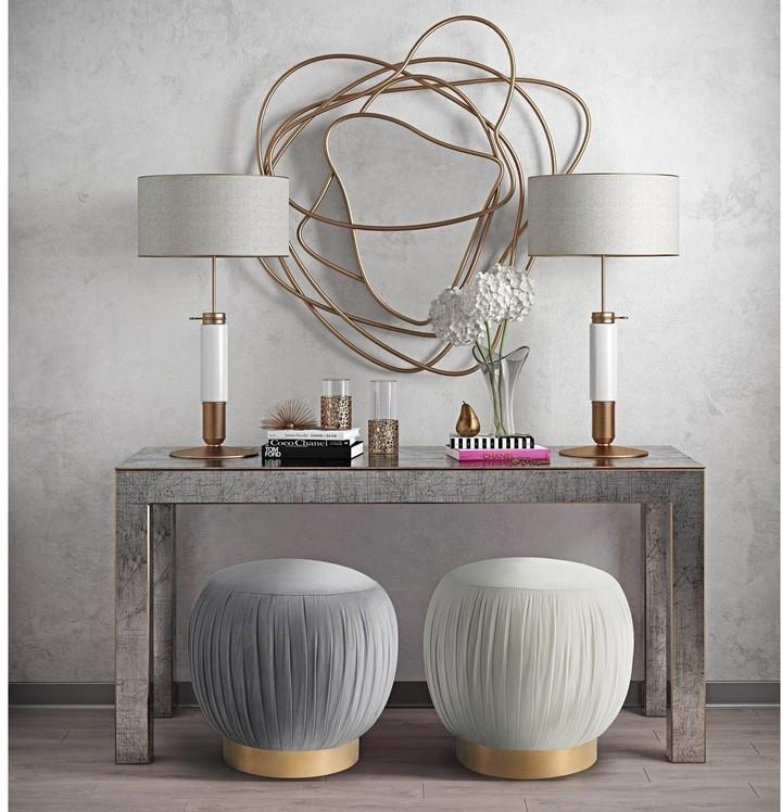 Thumbnail for your product : TOV Furniture Tulip Grey Velvet Ottoman