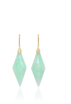 Jamie Wolf Yellow Gold Mint Chrysoprase Drop Earrings with Diamonds