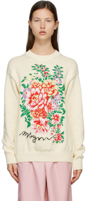 MSGM Off-White Knit Floral Sweater