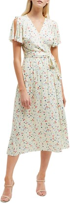 French Connection Roseau Meadow Floral Wrap Front Dress