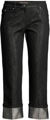 Michael Kors Monogram Cuffed Shimmer Straight-Leg Crop Jeans