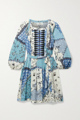 Etro Belted Printed Cotton-crepon Mini Dress - Blue