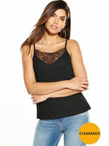Very Lace Panel Crepe Cami Top - Black