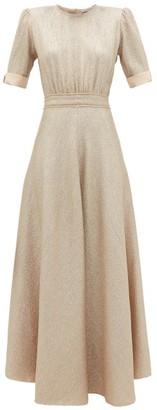 Vika Gazinskaya Puff-sleeve Metallic Wool-blend Dress - Womens - Nude