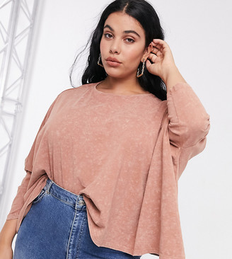 ASOS DESIGN Curve slouchy top with batwing sleeve in washed rust