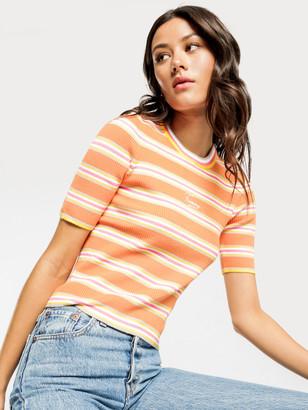 Tommy Hilfiger Stripe 3/4 Sleeve Sweater in Rustic Orange