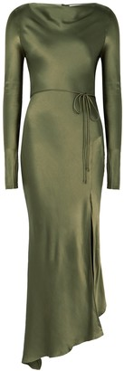 Bec & Bridge Delphine dark green satin midi dress