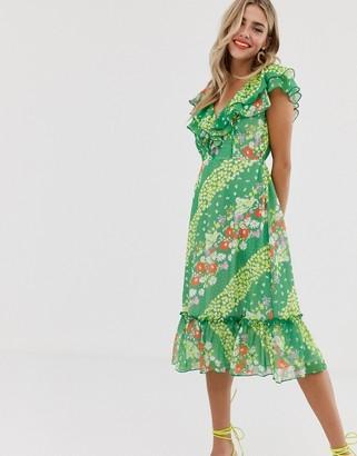 Twisted Wunder flounced sleeve midi dress green floral