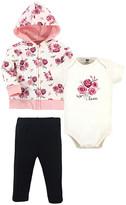 Hudson Baby Girls' Infant Bodysuits Rose - Pink & White Rose Zip-Front Hoodie Set - Newborn & Infant