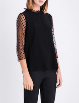 Claudie Pierlot Polka dot tulle and crepe top