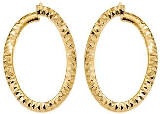 Italian Gold Diamond-Cut Front Back Twisted Hoop Earrings, 14K