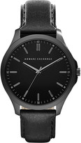 Armani Exchange Black leather strap watch