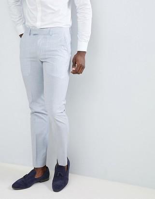 Farah Smart Skinny Wedding Suit Trousers In Cross Hatch-Blue