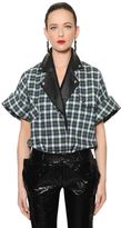 Ronald Van Der Kemp Checked Brushed Cotton & Leather Shirt