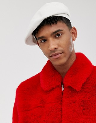 Asos Design DESIGN beret in white faux leather and band
