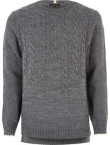 River Island Grey Graduated Cable Knit Jumper