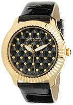 Invicta Women's 'Angel' Quartz Stainless Steel and Leather Casual Watch, Color:Black (Model: 22563)