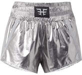 Heroine Sport - Appliquéd Grosgrain-trimmed Metallic Shell Shorts - Silver