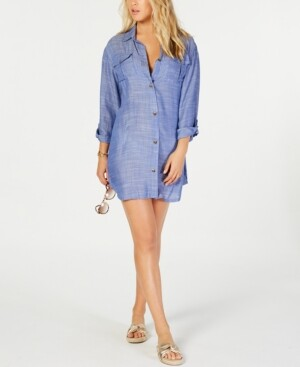 Dotti On Island Time Cotton Dress Shirt Cover-Up Women's Swimsuit