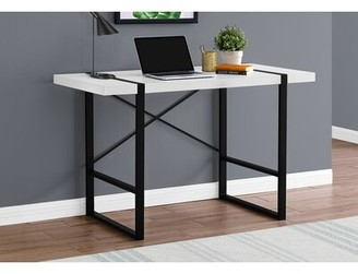 Gracie Oaks Fullilove Desk Color (Top/Frame): Dark Taupe/Black