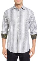 Thomas Dean Classic Fit Paisley Stripe Sport Shirt