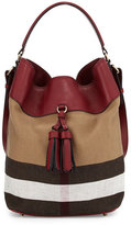 Burberry Ashby Medium Unstructured Check/Leather Bag, Burgundy