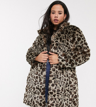 Simply Be faux fur coat in leopard print