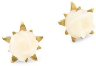 Annette Ferdinandsen Flora White Coral Rose Stud Earrings