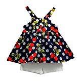 Fheaven 2PCS Baby Girls Summer Outfit Set Vest Sleeveless Cherry T-shirt+Shorts Pants (5/6T, Navy)