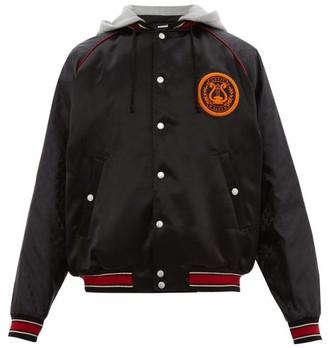 Gucci Logo-patch Satin Bomber Jacket - Black