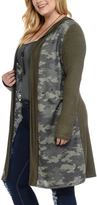 Celeste Olive Camouflage Hooded Open Cardigan - Plus