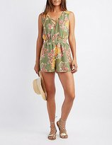 Charlotte Russe Floral Lace-Up Romper